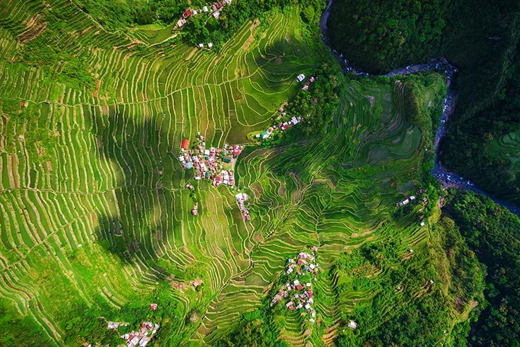 Top View of Batad Rice Terraces in Northern Luzon, Philippines
